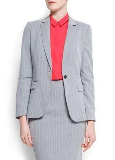 Mango Women`s Tailored Stripes Blazer