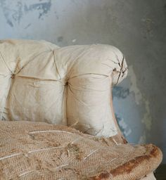 Gorgeous antique French Amelie Rose bergere in old tufted muslin upholstery with burlap seat and horsehair stuffing Beautiful old . Antique Chairs, Take A Seat, Deconstruction, Horse Hair, French Antiques, Vintage Furniture, Upholstery, Throw Pillows, Taupe