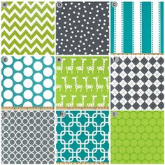 For a boy: Crib bedding  Turquoise lime green and Grey