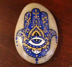 Hand painted stone, stone art, hamsa, middle eastern art, bohemian, boho