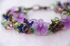 Flower Charm Bracelet: Handmade Flower and Swarovski Crystal Brass Charm Bracelet. Handmade Bracelets, Handmade Gifts, Wedding Bracelet, Flower Bracelet, Jewelry Design, Unique Jewelry, Bridal Flowers, Handmade Flowers, Swarovski Crystals