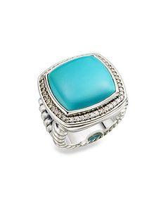 David Yurman - Turquoise, Diamond and Sterling Silver Ring