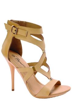 Minx Strappy High Heel Sandals - Natural Beige