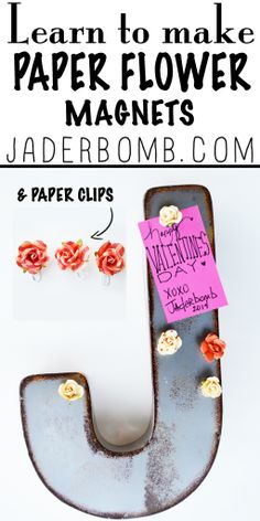 Learn how to make fun projects with PAPER FLOWERS from the blog www.jaderbomb.com #roses #valentines #jaderbomb #diy #crafts