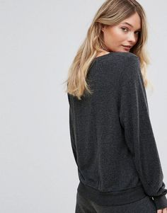 Wildfox Baggy Beach Sweater with Smiling Face - Black