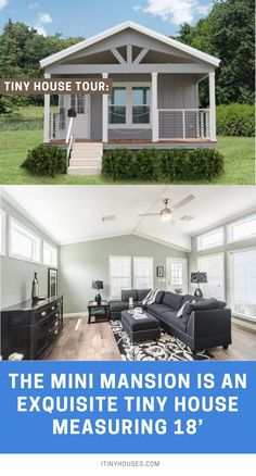 """Pratt Homes is a company that manufactures tiny houses as well as larger modular homes. Among their tiny houses is an abode that they have dubbed the """"Mini Mansion. Small Cottage House Plans, Tiny House Cabin, Tiny House On Wheels, Small House Plans, Cottage Homes, House Floor Plans, Tiny Houses, Backyard Cottage, Tiny House Company"""