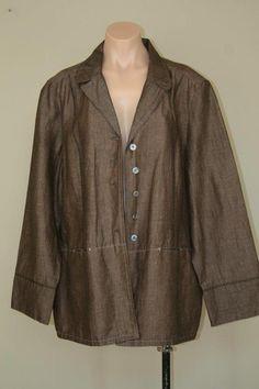 J Jill Dark Brown Linen Blend Stitch Detail Jacket Blazer sz XL #JJill #BasicJacket