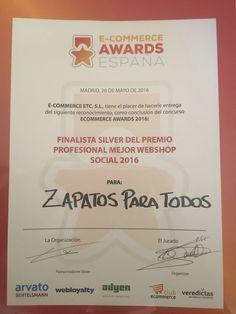 Nos hemos quedado 2 en los premios e-commerce awards españa,gracias a todo el equipo de zapatosparatodos.es y hoy quiero hacer una mención especial a las personas que lo han hecho posible:Mario Fontán,José Alberto Simón y Veronica Mula Bru