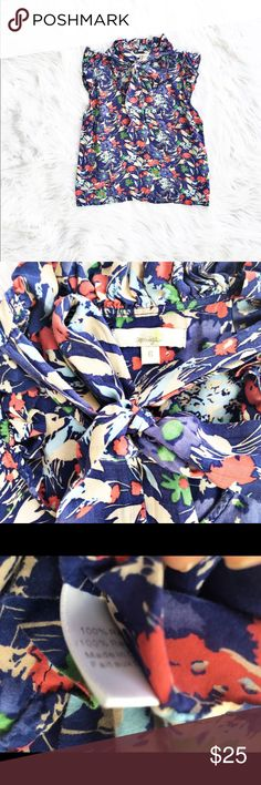 Anthropologie Porridge floral tie neck blouse Lovely floral print blouse with tie at neckline and flutter sleeves, size 6 from Porridge (Anthropologie). Excellent condition. Anthropologie Tops Blouses