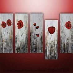 LARGE Abstract Modern Poppies Painting Original Floral Art by Catalin 50x30. via Etsy.