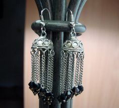 Chain and Beaded Vintage Dangles by AntiqueAlchemists on Etsy, $10.00