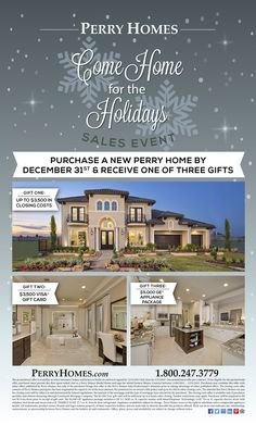 Come Home For The #Holidays With #PerryHomes! Purchase a #Home by December 31st & Receive 1 of 3 #Gifts: Up to $3500 in #ClosingCosts, $3500 #VisaGiftCard or $5,000 #GE Appliance Package! #trustedbuilder #HomeForTheHolidays #homebuilding #homebuying #realestate #HoustonHomes #SanAntonioHomes #AustinHomes #HillCountryHomes #stuccohomes #brickhomes #brickexterior #stoneexterior #FallEvents #WinterEvents #HolidayOffers #Holidays #GiftIdeas