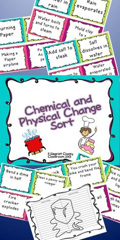 This is a quick and fun way to check your student's knowledge on physical and chemical changes. There are 28 different cards that the students will put into either physical changes or chemical changes and then write their answers on the response sheet. I included a answer key so it can be self checking if you wanted.  You could also post them around the room and student rotate and write their answers in the response sheet.  There are colored and Black and white versions.