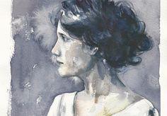 Virginia Woolf 21x29cm Watercolor by Mauro Pietro Gandini