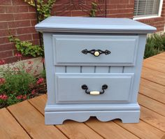 Pretty blue Nightstand painted using chalk style paint. Finished with clear and a little dark wax. The original drawer pulls were painted black. Mary's Garden of Refinished Treasures www.facebook.com