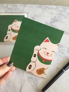 Lucky Cat Blank Flat Notecard Greeting Card Thank by BrushedInBold