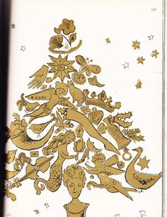 Early Andy Warhol Drawing            HARPERS BAZAAR December 1957 CHRISTMAS DIOR WARHOL