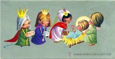 POSTAL NAVIDEÑALOS 3 REYES MAGOS ADORANDO AL NIÑO JESÚS  Ilust.GALLARDA