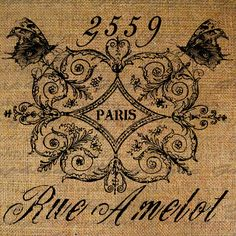 French Paris Address Butterflies Ornate Frame by Graphique on Etsy