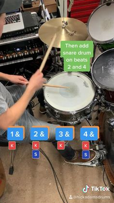 A drum lesson teaching a basic 4 on the floor drum beat in under 30 seconds Drum Sheet Music, Drums Sheet, Learn Drums, How To Play Drums, Music Lessons For Kids, Music Lesson Plans, Samba Drums, Drum Patterns, Do I Wanna Know