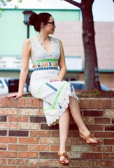 Vintage Ladies 70s Cotton Lace Summer Eloise Curtis Dress sz: S (# 13894)