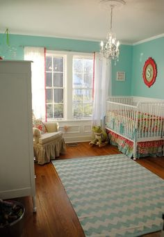 Color Of Our Bedroom We Cant Change :/ So Thinking Hot Pink Accents For Baby  Corner. Love The Chevron Rug! Home By Heidi: {Baby Girl Nursery Ideas!