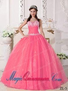 Watermelon Ball Gown Strapless Floor-length Taffeta and Organza Appliques Quinceanera Dress - Magic Quinceanera