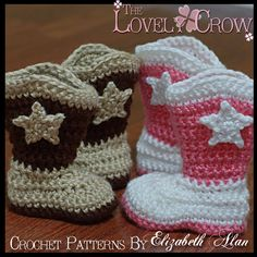 Ravelry: Toddler Boot Scoot'n Boots pattern by Elizabeth Alan Cowboy Crochet, Crochet Baby Boots, Booties Crochet, Crochet Slippers, Love Crochet, Crochet Hats, Baby Patterns, Knitting Patterns Free, Knit Patterns