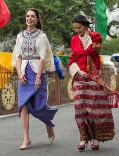 Catherine, Duchess of Cambridge and Queen Jetsun Pema attend a ceremonial welcome and audience at TashichhoDong on April 14, 2016 in Thimphu, Bhutan.