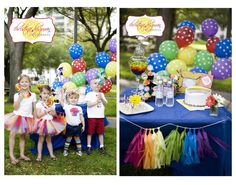love these colors, polka dotted balloons and swirly lollipops:)