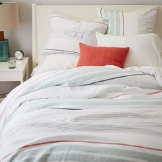 West Elm offers modern furniture and home decor featuring inspiring designs and colors. Create a stylish space with home accessories from West Elm. Modern Duvet Covers, Bed Duvet Covers, Cover Pillow, Quilt Cover, Pillow Shams, Beach House Bedroom, Home Bedroom, Bedrooms, Master Bedroom