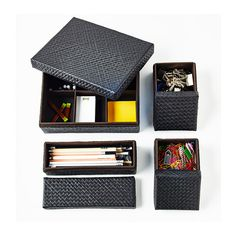 BLADIS Box with lid, set of 4 IKEA Suitable for storing small items like desk accessories, hair clips or jewelry. Ikea Makeup, Ikea Us, Ikea Office, Design Your Life, Box With Lid, Makeup Storage, Desk Accessories, Makeup Organization, Home Furnishings