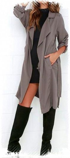 a1ec68c3be ... Grey Trench Coat Trench coats are definitely in this fall, but I  especially love this look because of the knee high boots! Perfect for us  coast to coast ...