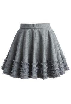 Ruffles Wool Blend Skater Skirt in Greym Number:B20141120002 $39.02 http://www.chicwish.com/ruffles-wool-blend-skater-skirt-in-grey.html