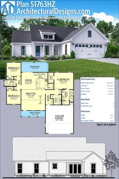 Architectural Designs Exclusive Modern Farmhouse Plan 51763HZ Has Porches Front And Back A Vaulted Great