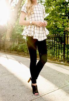 Flouncy top with skinny pants