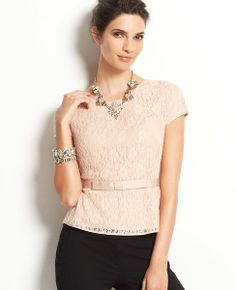 LOVE, LOVE, LOVE the Jewelry!!! NOT a Big Fan of the Lace Bow Peplum Top!!!  Lace Bow Peplum Top #ATHauteHoliday
