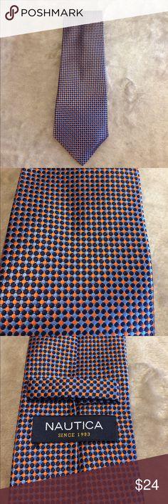 NAUTICA Necktie Orange Blue Excellent Condition This is a great tie by NAUTICA. Orange, Blue & Navy Blue. Excellent condition. I love to bundle and have more ties listed. Bin Z Nautica Accessories Ties