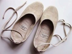 linen ballet flats with ties --soft and wide!