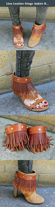 """Lion Leather fringe Anklet Boot Cuff in Caramel brown. One Pair of Gorgeous Handmade anklet/boot cuffs made from high quality leather. Double layer of fringe in rusty red and warm caramel brown. Gold colored rivet detail. Tie string closure. Dress up any shoe or wear alone around the ankle with sandals. 9"""" wide x 3.75"""" long Note: listing is not for the entire boot. It is For 2 boot cuffs/anklets only."""