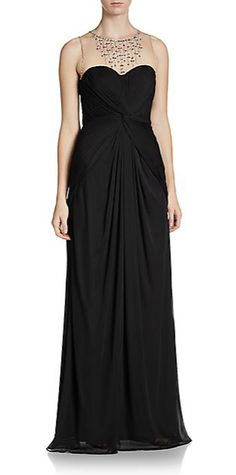 Adrianna Papell | Draped Illusion-Top Gown | SAKS OFF 5TH