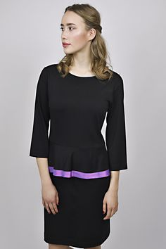 business look, management, reception, black dress, purple detail, uniform, uniforms Business Look, Reception, Management, Formal Dresses, Design, Fashion, Dresses For Formal, Moda, Formal Gowns