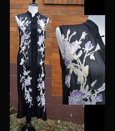 Cheongsam Asian Style Sheer Dress, Frog Closures, 90s, Watercolor Flowers with Embroidery. by Have2Shop on Etsy