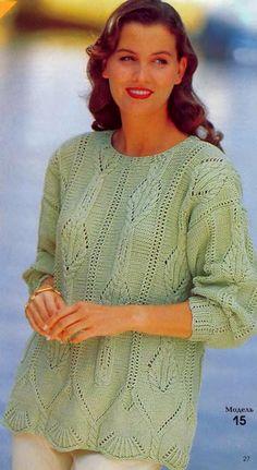 Jumper s jehlami (popis a schéma) Pleteme zajímavé projekty Lace Knitting Patterns, Hand Knitting, Free Crochet, Knit Crochet, Crochet Cardigan, Summer Tops, Crochet Clothes, Knitting Projects, Free Pattern