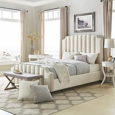 Chareau Velvet Upholstered Nailhead Bed by iNSPIRE Q Bold | Overstock.com Shopping - The Best Deals on Beds - Grey Velvet - King Bedroom Layouts, Bedroom Sets, Home Bedroom, Master Bedroom, Velvet Upholstered Bed, Upholstered Platform Bed, Headboard And Footboard, Grey Bedding, Luxurious Bedrooms
