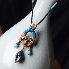 Handmade jewelry ethnic necklace chain pattern long women Ceramic Retro Aboriginal pottery , clay fish pendant