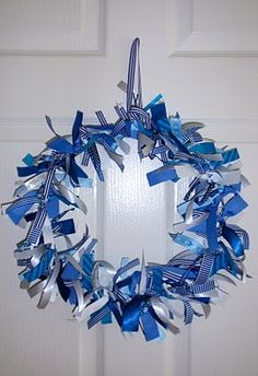 Ribbon coat hanger wreath, same instructions as plastic bag wreath