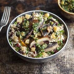 Winter pilaf with walnut pesto & baked portobellos