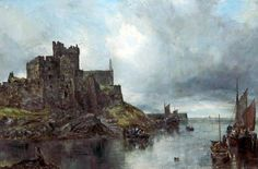 Peel Castle, Isle of Man by William Joseph Julius Caesar Bond (sometimes humorously known as 'Alphabet' Bond) was a leading painter of the 'Liverpool School' of artists, also known as the 'Turner of the North'. (Courtesy of Williamson Art Gallery & Museum)