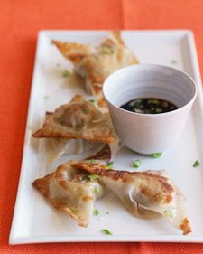 Wontons that have been browned and steamed or simmered are called pot stickers. Serve them as an appetizer or a main course.